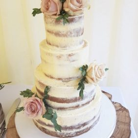 Semi naked wedding cake Leatherhead
